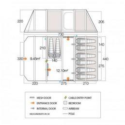Vango AirBeam Rivendale 800XL Tent Floorplan