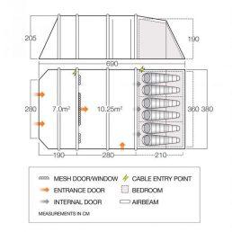Vango Stargrove Air 600XL Tent Floorplan